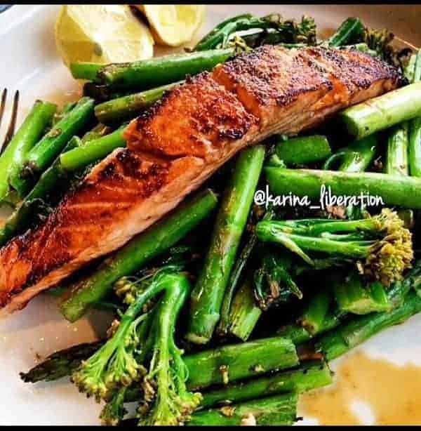 Pan Fried Soy Sauce and Lemon Salmon with Stir Fried Greens - Cafe Delites