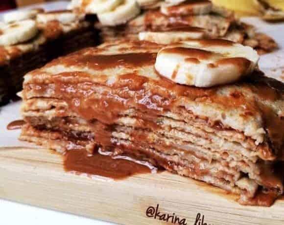 HEALTHY BANANA, PEANUT BUTTER & HONEY CREPE CAKE
