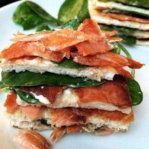 Crispy Smoked Salmon, Spinach and Cream Cheese Egg Stack - Cafe ...