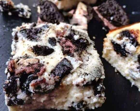 Oreo Peanut Butter Cup Cheesecake Bars - Cafe Delies