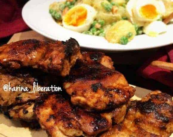 Nandos Peri Peri Chicken with Garlicky Potato & Egg Salad - cafedelites.com