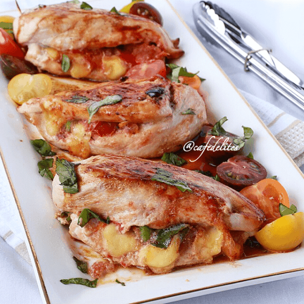 Margarita Pizza Stuffed Chicken Breasts