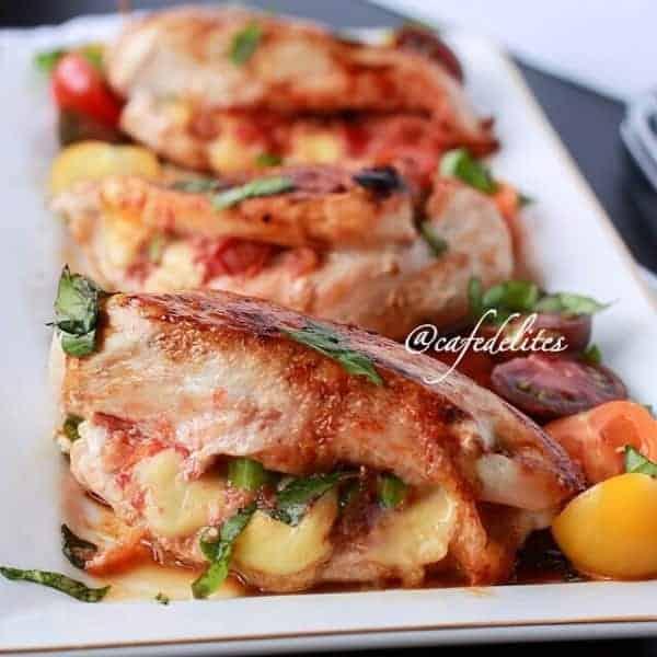 Margarita Piza Stuffed Chicken - Cafe Delites cafedelites