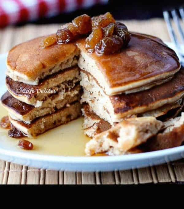 Cinnamon Raisin Pancakes - Cafe Delites-1-2