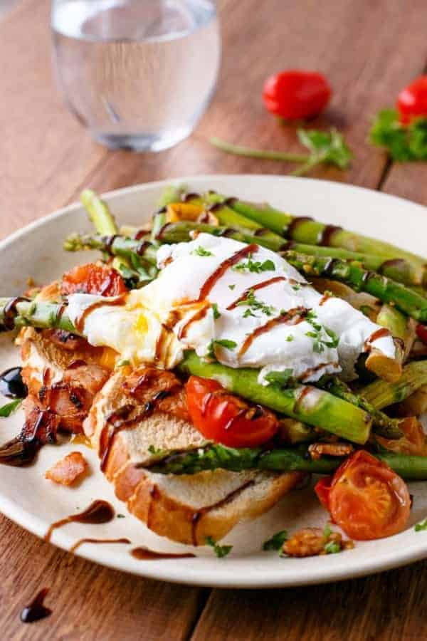 Pan Fried Asparagus with Poached Eggs Bruschetta