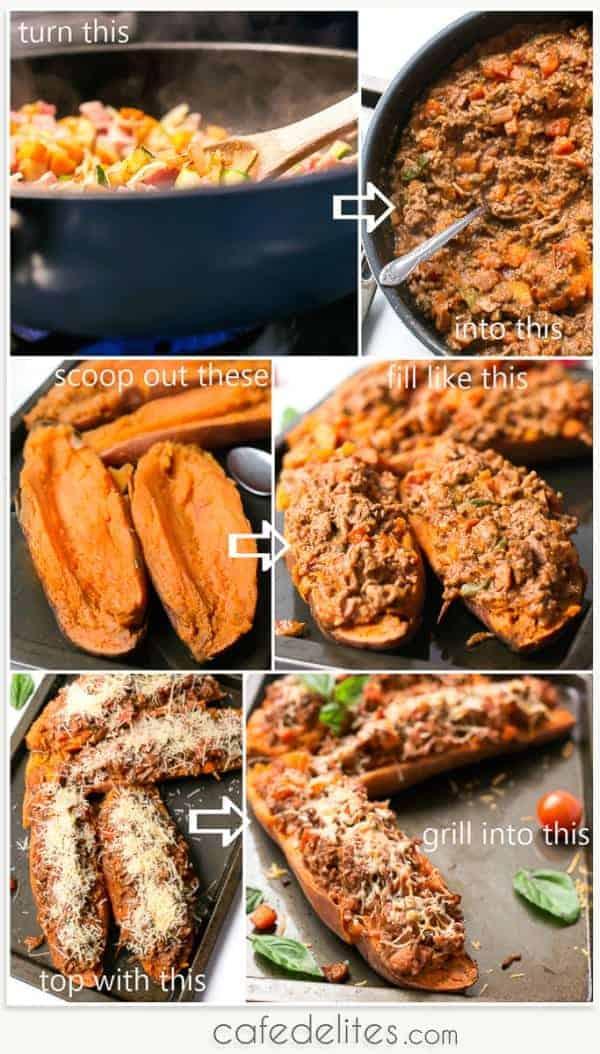 Cheesy Bacon Bolognese Stuffed Sweet Potatoes - Cafe Delites-31-2