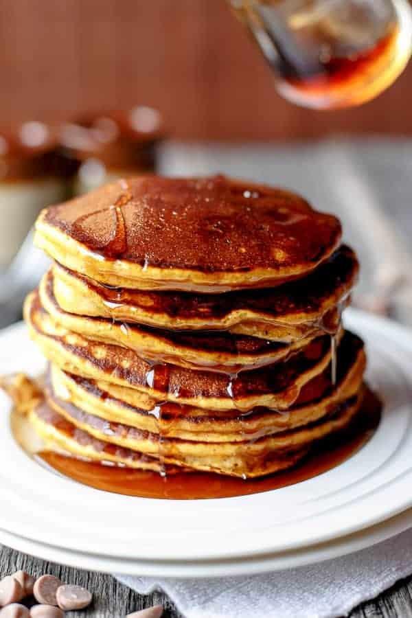 Pumpkin Caramel Chip Pancakes cafedelites.com