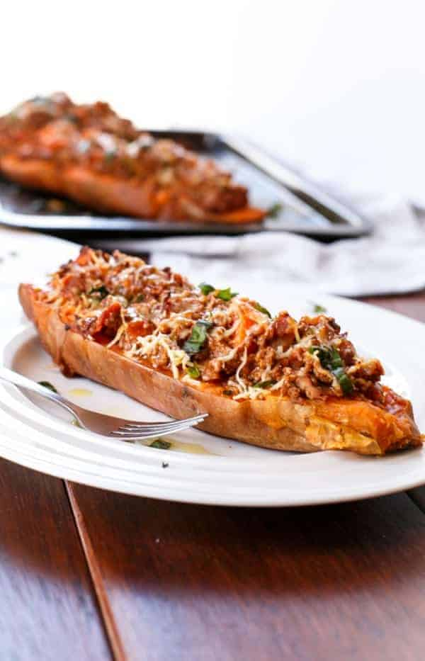 Bacon Bolognese Stuffed Sweet Potatoes - Cafe Delites
