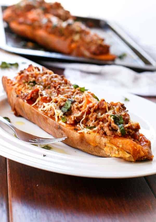 Bacon Bolognese Stuffed Sweet Potatoes GOOD - Cafe Delites