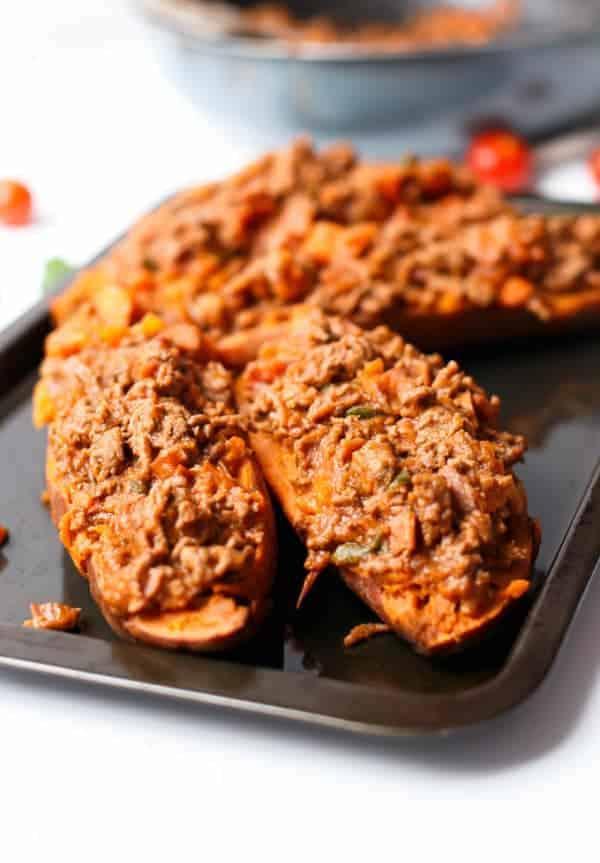 Bacon Bolognese Stuffed Sweet Potatoes - Cafe Delites