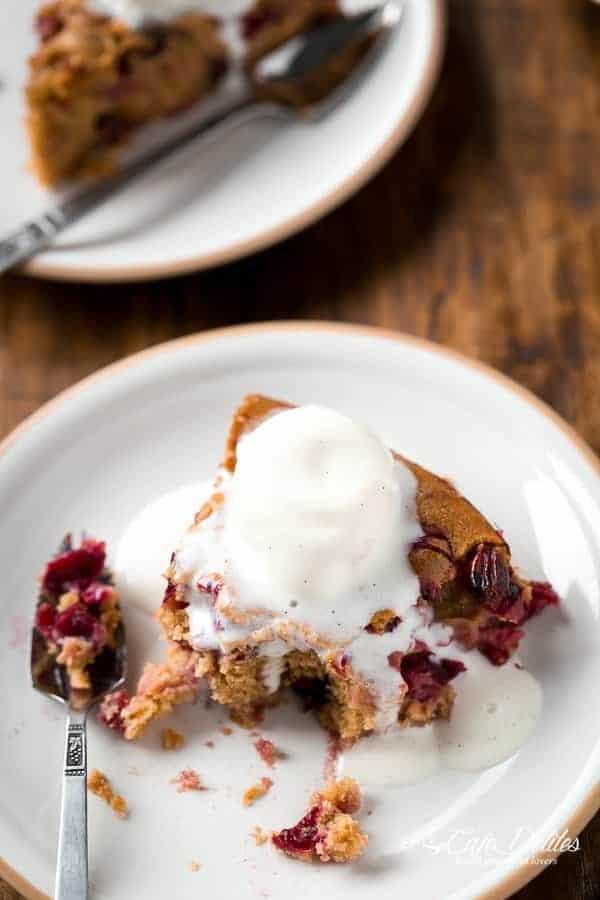 Boozy Cranberry Cobbler Cake