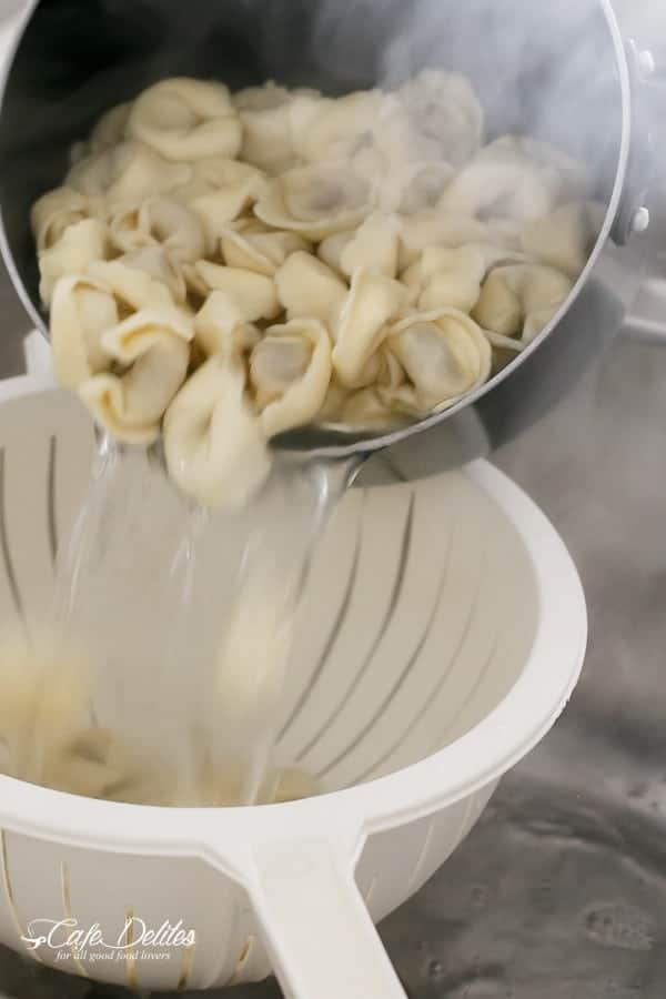 Tortellini with Chunky Beef Sauce | https://cafedelites.com
