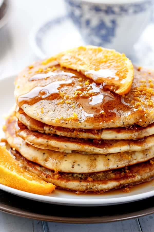 Orange Poppyseed Pancakes https://cafedelites.com