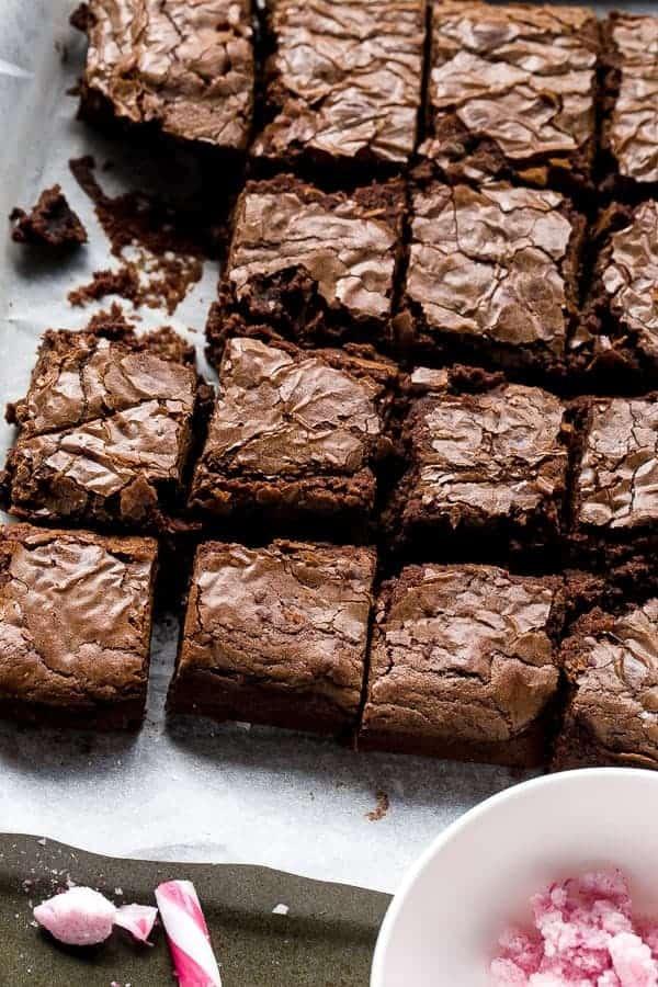Candy Cane Fudge Brownies https://cafedelites.com