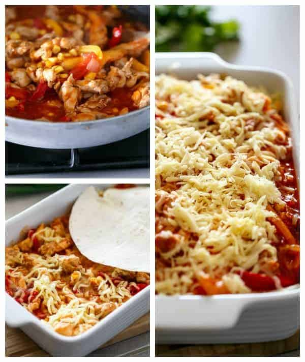 Chicken and Corn Enchilada Bake HOW TO https://cafedelites.com