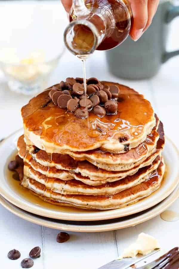 Whole Wheat Choc Chip Banana Bread Pancakes