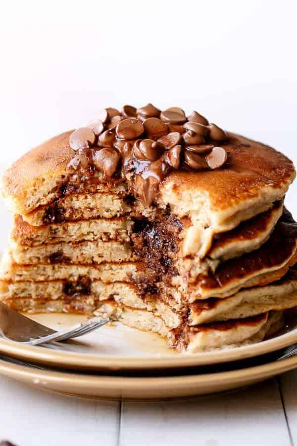 Choc Chip Banana Bread Pancakes on https://cafedelites.com