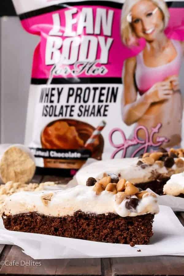Jamie Eason Peanut Butter Chocolate Brownie Pie https://cafedelites.com