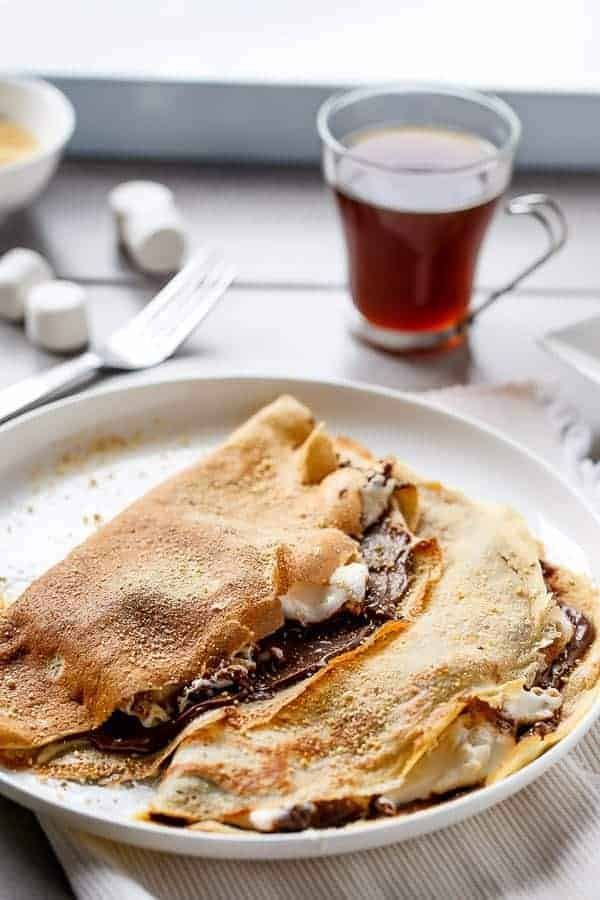 Nutella S'mores Crepes http://cafedelites.com
