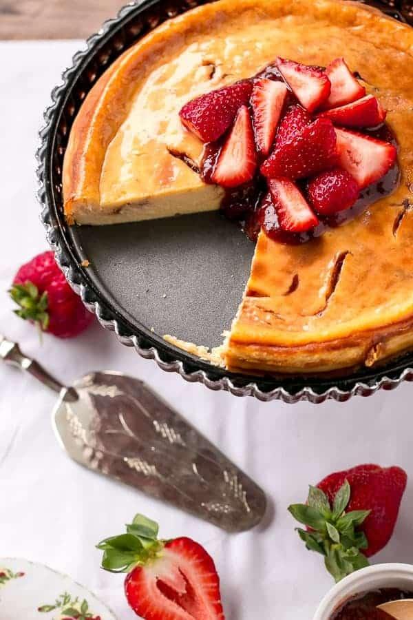 Strawberry Swirl Cheesecake https://cafedelites.com
