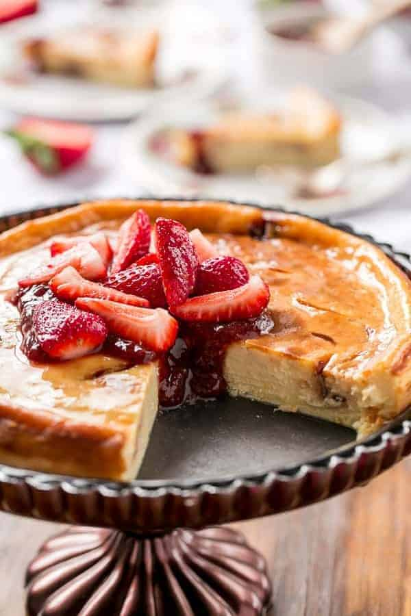 Strawberry Swirl Cheesecake https://cafedelites.com