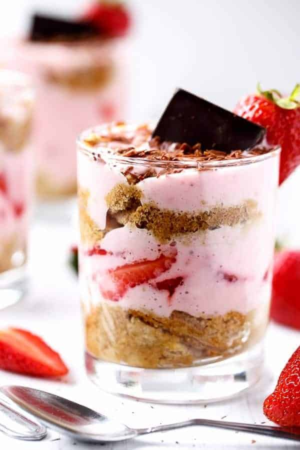Strawberries and Cream Tiramisu Parfait https://cafedelites.com