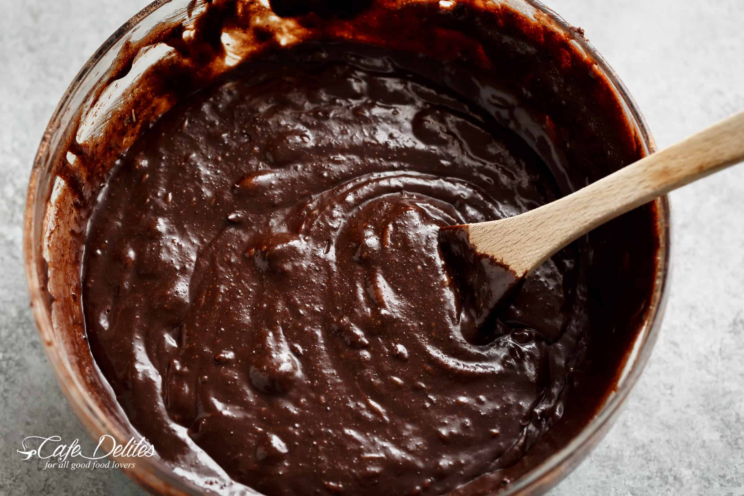 Chocolate Banana Bread Batter in a mixing bowl | cafedelites.com