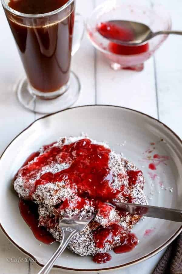 Lamington French Toast with Jam Syrup | https://cafedelites.com