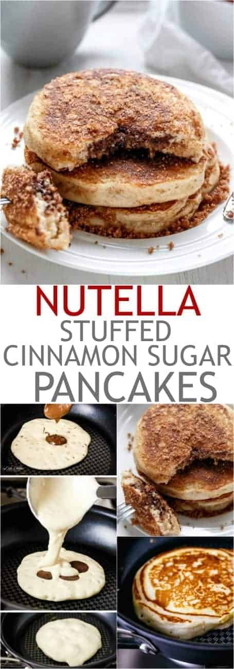 Nutella Stuffed Cinnamon Sugar Donut Pancakes | https://cafedelites.com