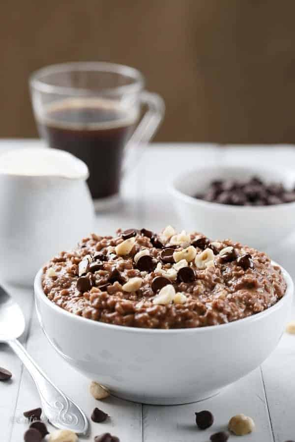 Nutella Hot Chocolate Oatmeal | https://cafedelites.com