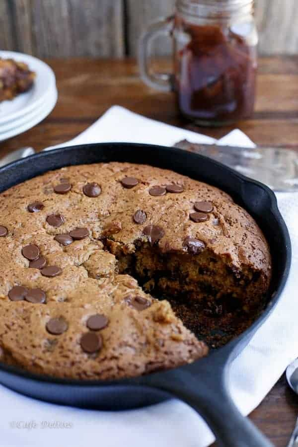 Peanut Butter Choc Chip Deep Dish Skillet Cookie https://cafedelites.com