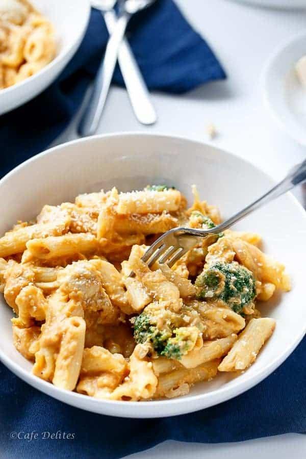Creamy Pumpkin Chicken and Broccoli Alfredo   https://cafedelites.com