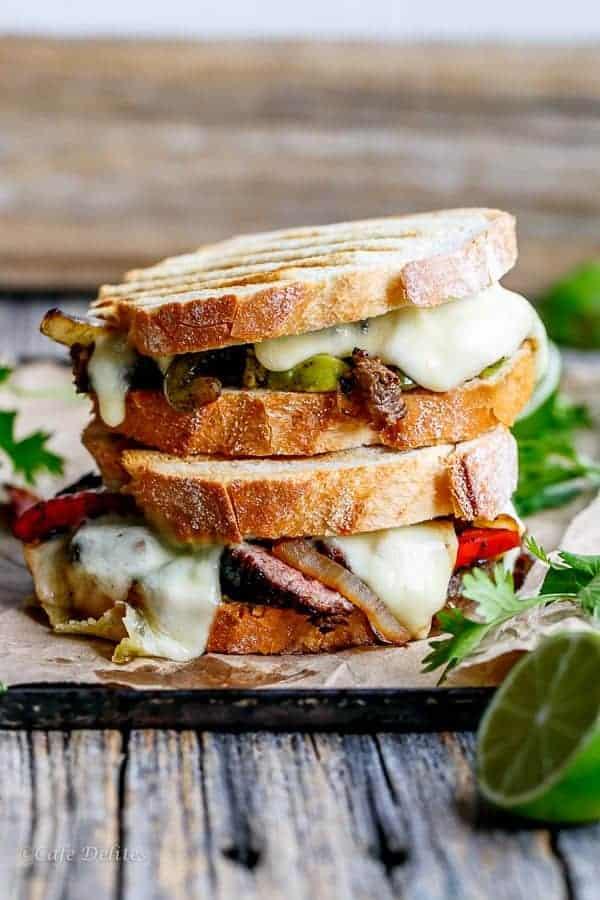 Steak Fajita Grilled Cheese | https://cafedelites.com