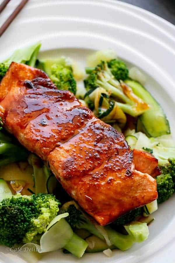 Teriyaki Glazed Salmon | https://cafedelites.com