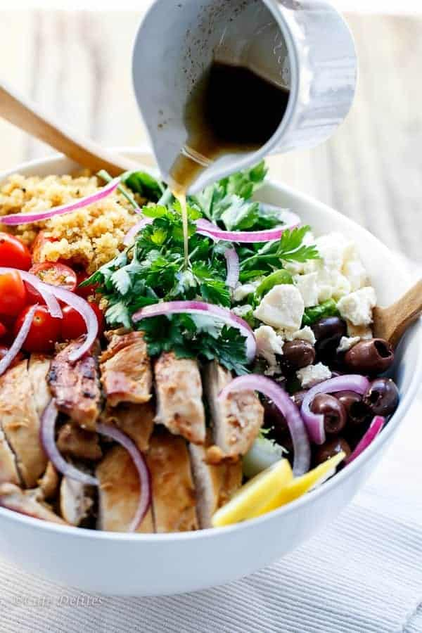 Balsamic Chicken Salad with Lemon Quinoa | https://cafedelites.com
