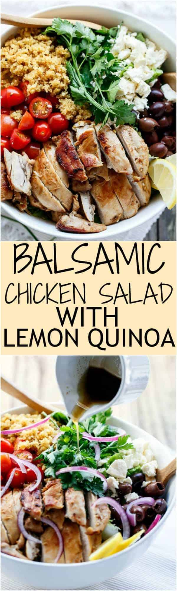 Balsamic Chicken Salad with Lemon Quinoa Collage | https://cafedelites.com