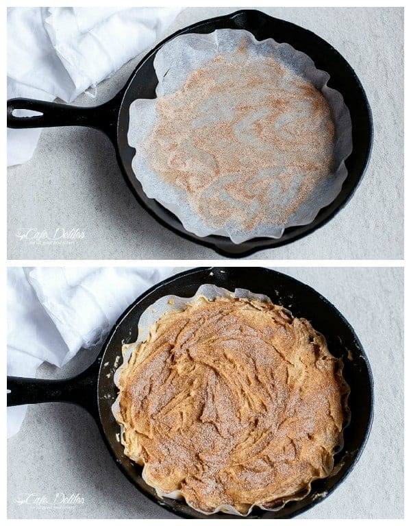 Nutella Stuffed Churro Deep Dish Skillet Cookie | https://cafedelites.com