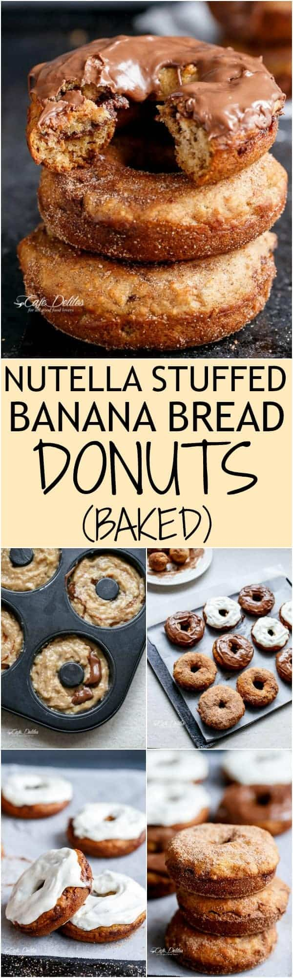 Nutella-Stuffed-Baked-Banana-Bread-Donuts | HTTP://CAFEDELITES.COM