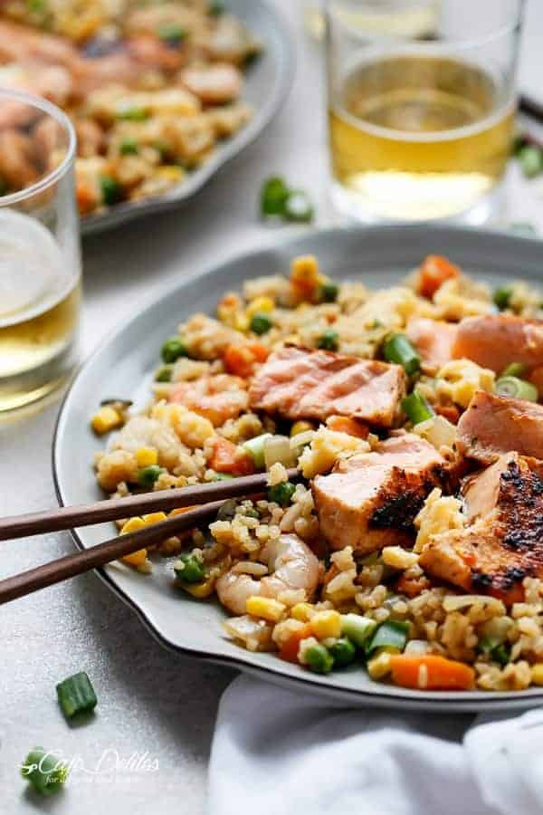 Seared Salmon and Prawn Fried Rice