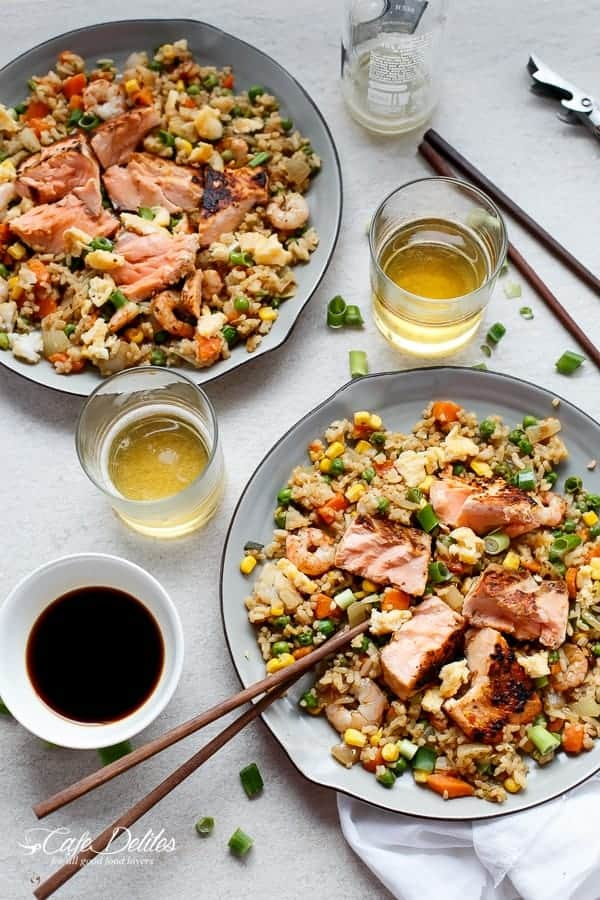 Seared Salmon And Prawn Fried Rice | https://cafedelites.com