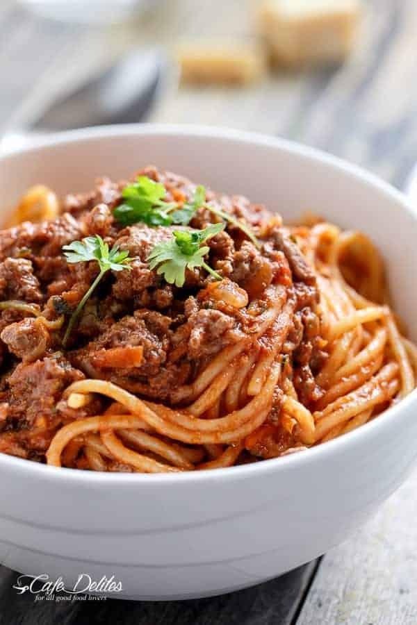 Spaghetti Bolognese   https://cafedelites.com