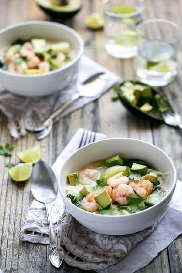 Thai Style Prawn (Shrimp) and Avocado Noodle Bowls | https://cafedelites.com