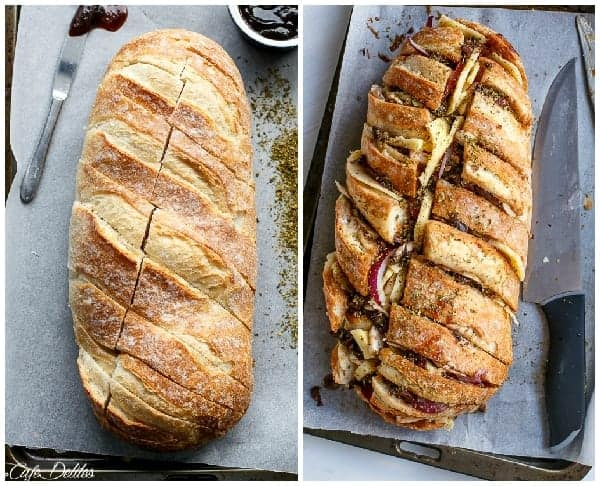 Barbecue Chicken Pizza Stuffed Bread | https://cafedelites.com