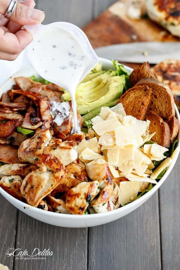 Skinny Chicken and Avocado Caesar Salad | https://cafedelites.com