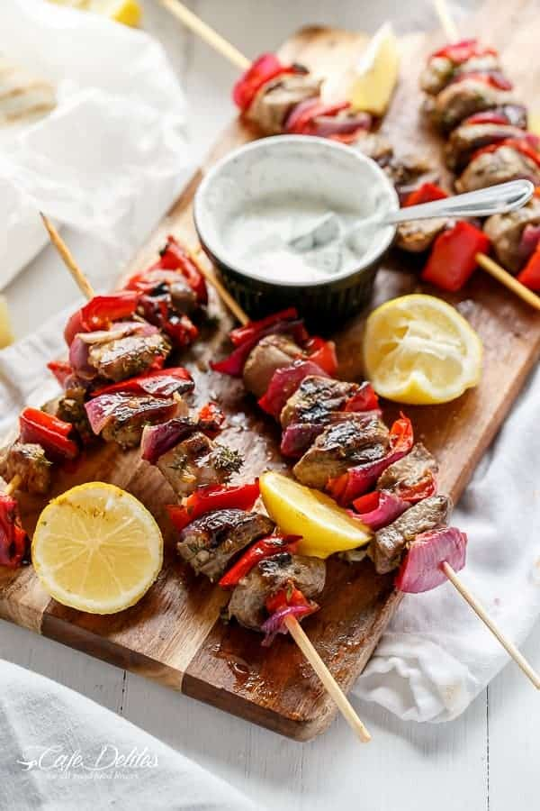 Greek Lamb Souvlaki with a Garlic Yogurt Dip | http://cafedelites.com