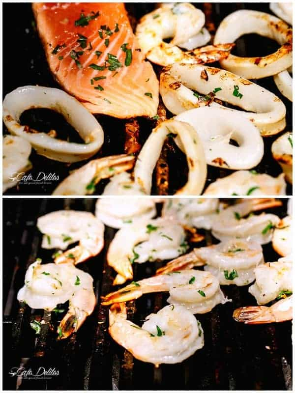 HowTo Barbecued Seafood Salad with Garlicky Greek Yogurt Dressing | https://cafedelites.com