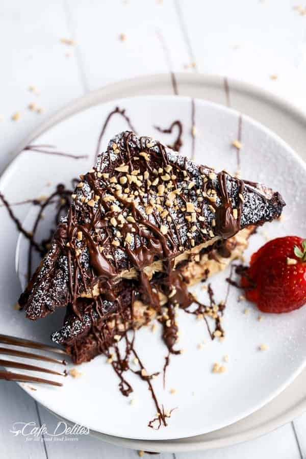 Peanut Butter Cheesecake Stuffed Chocolate Brownie French Toasts   https://cafedelites.com