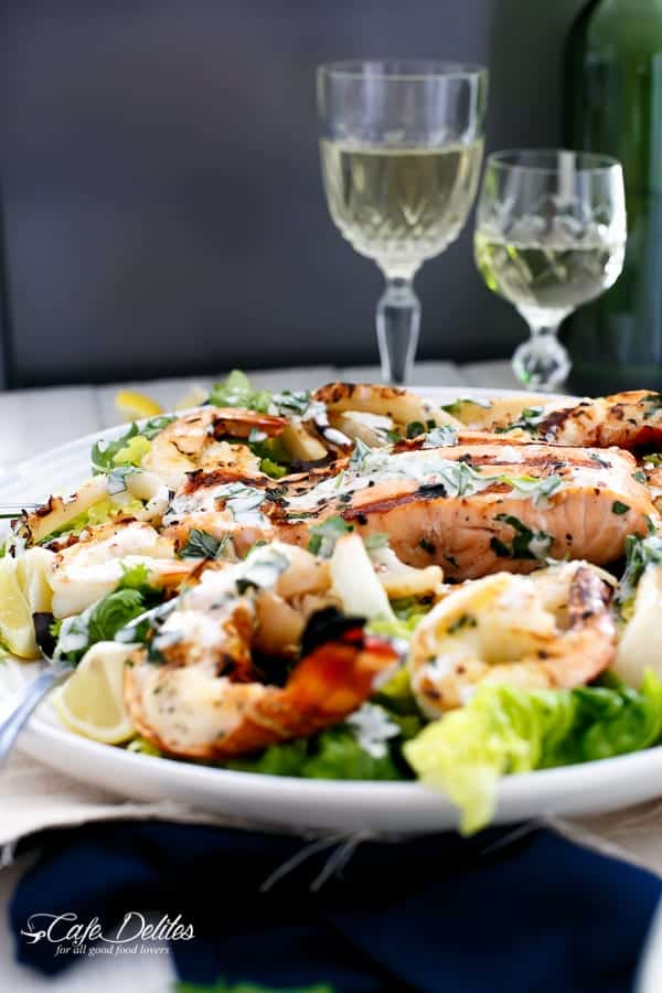 Barbecued Seafood Salad with Garlicky Greek Yogurt Dressing | https://cafedelites.com
