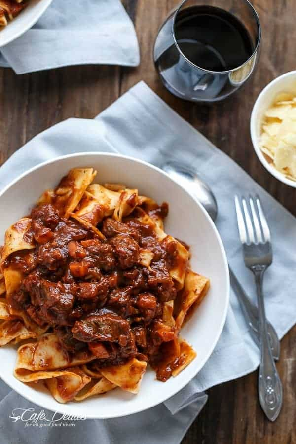 Fiery Lamb Ragu on Parpadelle | https://cafedelites.com