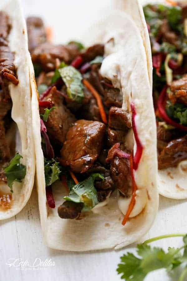 Korean Buglogi Bbq Beef Tacos with Kale Slaw | https://cafedelites.com